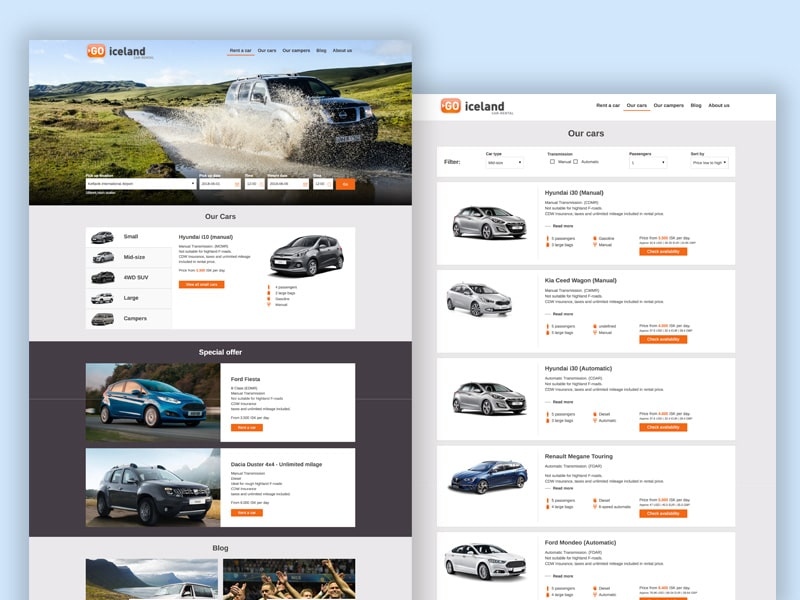 Vehicles rental website