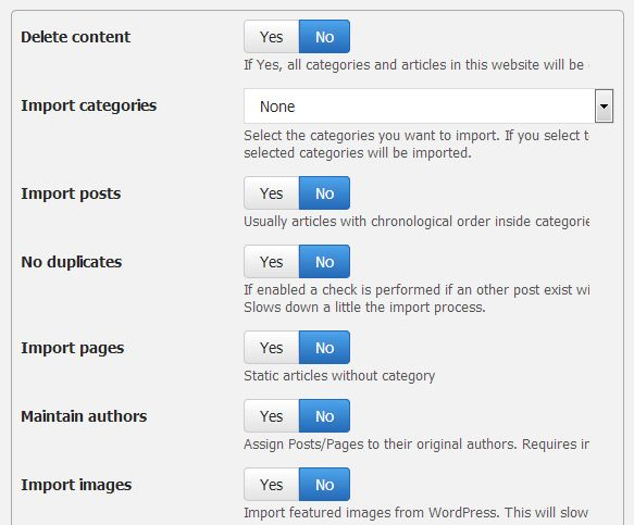WordPress to Elxis import options